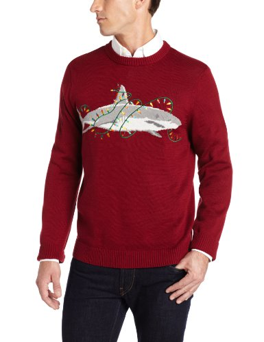 Alex Stevens Men's Sharky Holiday Sweater, Rugby Red, Large