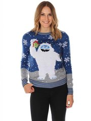 Women's Ugly Christmas Sweater - The Romantic Yeti Sweater Blue Size M