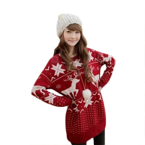 Asoidchi Women Girls Deer Maple Leaf Deer Jubilant Red Sweater