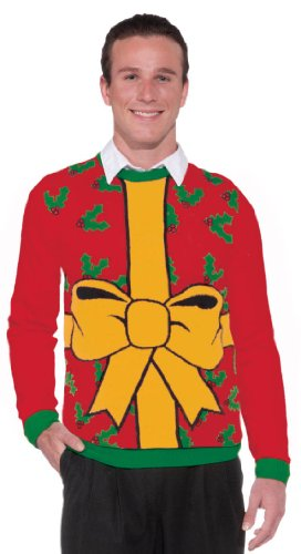 Forum Novelties Adult Extra Large All Wrapped Up Red Ugly Christmas Sweater, Multi, X-Large