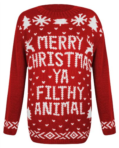 Womens Knitted Christmas Novelty Santa Reindeer Penguin Snowman Jumper Sweater [S/M - UK 8/10 = Red - Xmas Ya Filthy Animal]