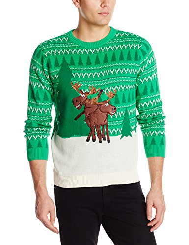 Alex Stevens Men's Moose Games Ugly Christmas Sweater, Green Combo, X-Large