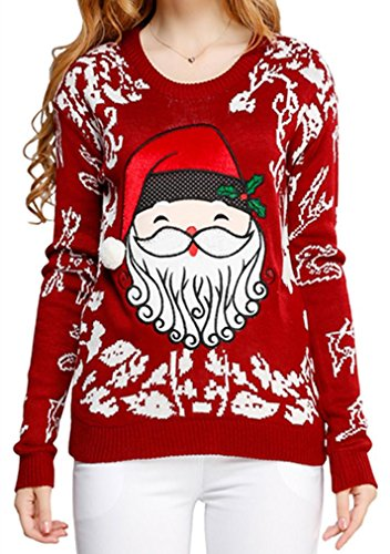 Women Girl Christmas Cute Santa Embroidered Knitted Deer Pullover Sweater Jumper(L, Cute Santa-Red)