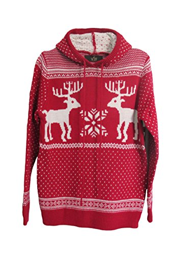 Women's Patterns of Reindeer Snowman Tree Snowflakes Christmas Sweater Cardigan (M, Red with Hood)