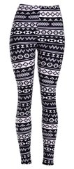 VIV Collection Women's High Quality Printed Leggings (Black White Electric Aztec)