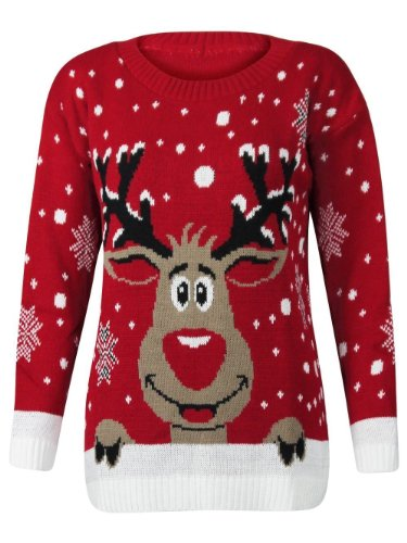 Forever Womens Rudolph Reindeer Print Snowflake Christmas Jumper (ML-10/12, Red)