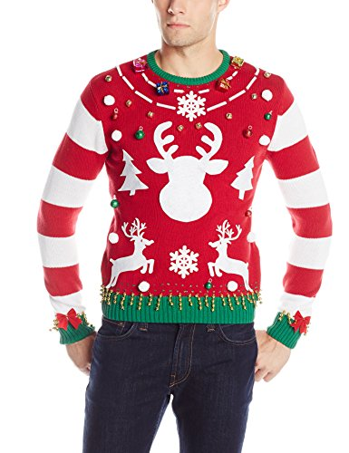 The Ugly Christmas Sweater Kit Men's Make Your Own Ugly Christmas Sweater, Red/Stripe, X-Large