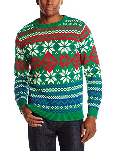 Alex Stevens Men's Bright and Bold Fairisle Ugly Christmas Sweater, Green Combo, XX-Large