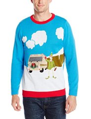Alex Stevens Men's Motor Home Holiday Ugly Christmas Sweater, Blue Combo, X-Large