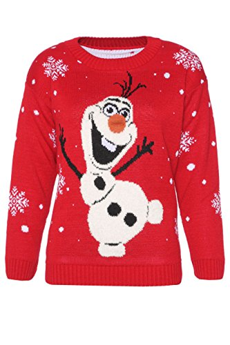 Womens Ladies Novelty Olaf Frozen Style Christmas Jumper Sweater Xmas Unisex (Size M/L (USA 8-10))