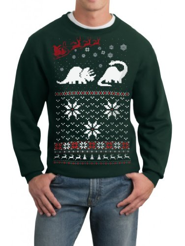 Skip N' Whistle Adult Ugly Christmas Sweater Santa Dinosaur Pullover Sweatshirt Medium Forest Green