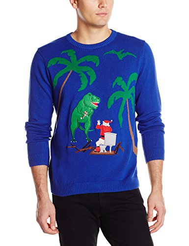 Alex Stevens Men's Santa Toilet T-Rex Attack Ugly Christmas Sweater, Dark Blue Combo, X-Large