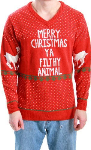 Ugly Christmas Sweater Home Alone Merry Christmas Ya Filthy Animal Adult Red Sweater (Adult XXX-Large)
