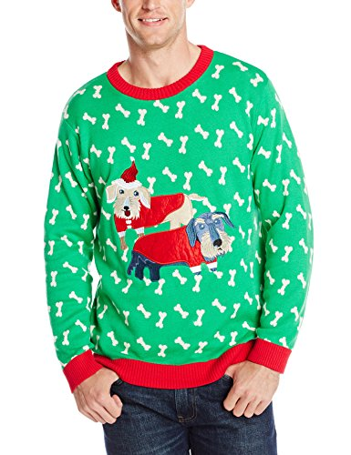 Alex Stevens Men's Holiday Dachshunds Ugly Christmas Sweater, Green Combo, X-Large