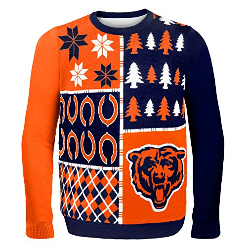 NFL Chicago Bears Busy Block Ugly Sweater, Large, Orange