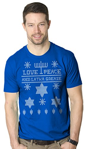 Ugly Hanukkah Sweater T Shirt funny ugly sweater shirt Holiday tee L
