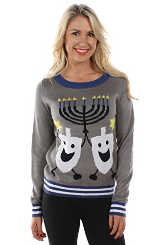 Women's Ugly Christmas Sweater - The Hanukkah Sweater Blue Size S