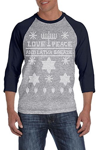 Ugly Hanukkah Sweater RAGLAN Funny Ugly Sweater Shirt Holiday Tee M