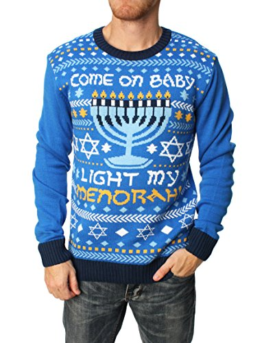 Ugly Christmas Sweater Men's Come On Baby Light My Menorah Hanukkah Sweater-L
