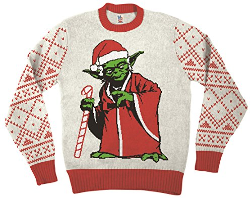 Star Wars Jedi Yoda Dressed As Santa Off-White Ugly Christmas Sweater (Adult X-Large)