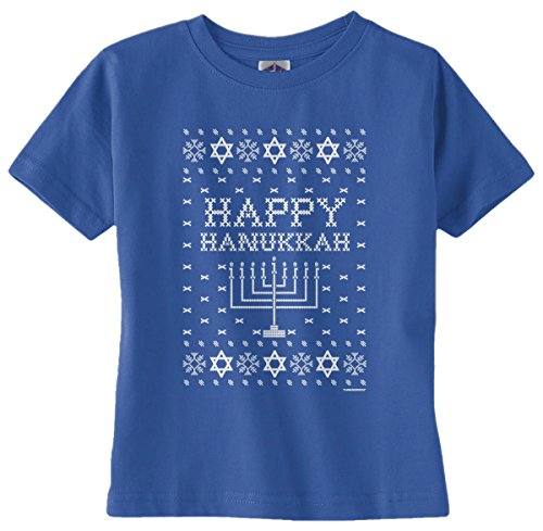 Threadrock Baby Girls' Happy Hanukkah (Ugly Sweater) Infant T-Shirt 24M Royal Blue