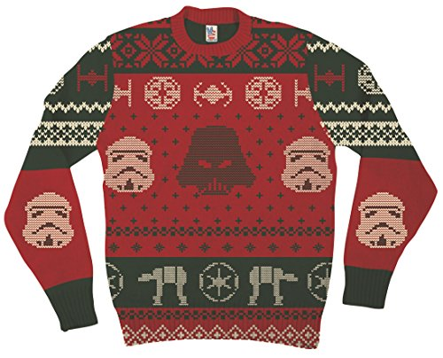 Star Wars Darth Vader Stormtrooper Heads At-At Red Ugly Christmas Sweater (Adult X-Large)