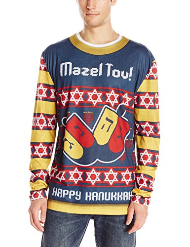 Faux Real Men's Mazel Tov Ugly Hanukkah Sweater Long Sleeve T-Shirt, Multi, Small
