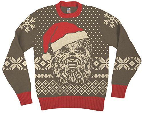 Star Wars Chewbacca Big Face With Santa Hat Brown Ugly Christmas Sweater (Adult Small)